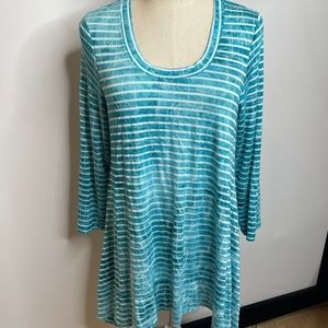 Patchington S turquoise striped tunic blouse top